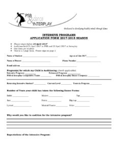 Audition Form | Intensive 2017 2018 Audition Form Psb Interplay
